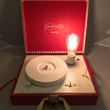 1950's Red &White Record Player Lamp