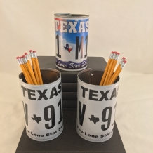 License Plate Pencil Cups or Flower Vases