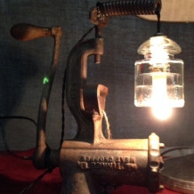 Antique Meat Grinder Lamp