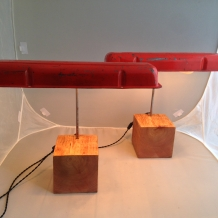 """Seeing Double"" Chevy Valve Cover Desk Lamps"
