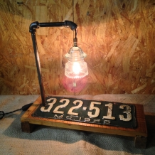 1925 Missouri License Plate Lamp w/Glass Insulator