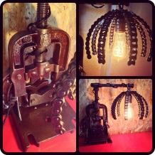 Antique Pipe Clamp and Chain Shade Lamp